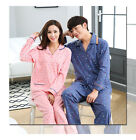 Blend Cotton Lovers' 2PCs Pink Blue Long Sleeves Pajama Sets with Pockets Collar