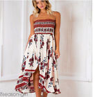 2017 Women Off Shoulder Floral Sleeveless Party Sundress Summer Beach Long Dress