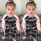 Toddler Baby Kid Girls Child Clothes Tops T-shirt Camouflage Pants Outfits Set