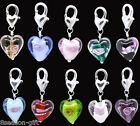 Wholesale Lots HX Glass Heart Clip On Charm Fit Link Bracelet