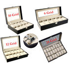 6-24 Grid Slots Leather Watch Display Box Jewelry Storage Organizer Holder Case