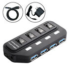 USB 3.0 Hub 4 Port On/Off Switches + AC Power Adapter Cable for PC Laptop