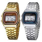 Retro Women Men Stainless Steel LED Digital Alarm Sport Stopwatch Wrist Watch XG