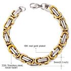 Fashion Gorgeous Men's Black Silver Gold Stainless Steel Wrist Chain Bracelet