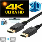 2X 1X 6FT High Speed DP to DP Gold Plated DisplayPort to DisplayPort Cable 4K 3D