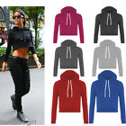 2017 Winter Women's Long Sleeve Cropped Tops Hoody Pullover Plain Fleece Hoodies