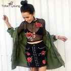 Sexy Crew Neck See Through Mesh Red Flower Embroidery Crop Top Blouse Tee Shirt