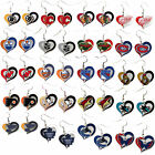 NHL Licensed Swirl Heart Glitter Team Dangle Earrings - Pick Your Favorite Team