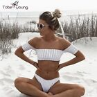 Hot Women Off Shoulder Bikini Set Striped Swimwear Padded Bra Swimsuit Beachwear