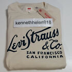 NWT LEVIS MENS LONG SLEEVE GRAPHIC CREW SWEATSHIRT CREAM WHITE SIZE M,L
