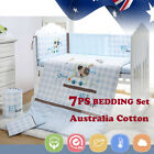 7pcs Baby Crib Bedding set Bumpers Quilt Pillow Cot Sheet Newborn Gift Blue Nurs