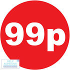"""""""99p"""" Promotional Labels / stickers.40mm Diameter, red/white. 250, 500, 1k Rolls"""