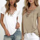 Summer Womens V Neck Lace Up T-Shirt Short Sleeve Loose Tops Casual Blouse 1RT