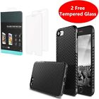 Carbon Fibre Case Cover Tempered Glass Screen Protector Apple iPhone 10 X 8 7 6s <br/> iPhone 5 5s Se| 2 FREE Tempered Glass |Express Delivery