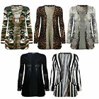 New Animal Print Ladies Open Front Pocket Boyfriend Cardigan Style TOP UK 8-26