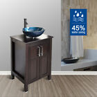 24'' Bathroom Vanity 28'' Cabinet Single Tempered Glass Sink Faucet Drain Combo