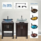 "24"" Bathroom Vanity 28"" Cabinet Vessel Sink Mirror Combo Bath Accessory Set"