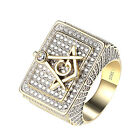 Mens Iced Out Masonic G Free Mason Ring 14K Yellow Gold Finish Sterling Silver