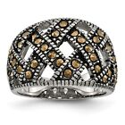 Stainless Steel Textured Marcasite Ring