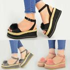 New Womens Ladies Faux Fur Pom Pom Espadrilles Wedge Sandals Peep Toe Shoes Size