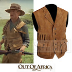 Men's Robert Redford Out of Africa Brown Tan Real Suede Leather Safari Vest
