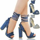 Womens Ladies Denim Block High Heels Sandals Lace Up Strappy Party Shoes Size UK