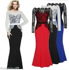 HXWomen Lace Maxi Dress Fashion Black Lace Patchwork Long Sleeve Dresses Evening