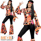 Hippie Ladies Fancy Dress 1970s 1960s Hippy Groovy Womens Adults Costume Outfit