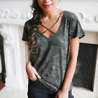 Women Camouflage V Neck Short Sleeve Tank Crop Tops Blouse T-Shirt Camo Cloth