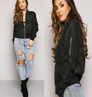 New Ladies Womens MA1 Retro Flight Vintage Bomber Biker Army Summer Jacket