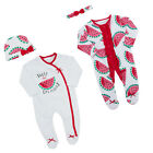 Baby Girls 2 Piece Watermelon Sleepsuit Set Romper Nightwear Headband Hat NB-9Mt