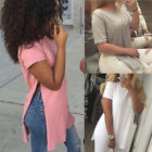 Loose Womens Side Slit Short Sleeve Summer Tops Laides Casual Long Blouse Tops