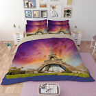 Sun Eiffel Tower Quilt Duvet Doona Cover Set Single Queen King Size Fitted Sheet