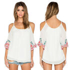 Women Printing Flower Lace Short Sleeve Chiffon Casual Loose Blouse T Shirt Tops