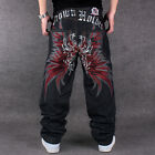 Red embroidery Cool Men's Hip Hop Jeans Casual Pants Size 30-44