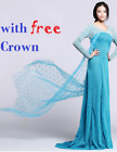 Frozen Elsa Adult Ladies Dress Fancy Dress  all sizes Party Gown blue wig deluxe