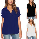 Plus Size Womens Summer Holiday V Neck Tops T-shirts Ladies Loose Tunic Blouses