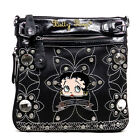 Betty Boop Blink Embroidered flora L Rhinestones satchel bag B14A36 2 COLORS $31.98 USD