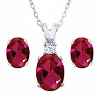 3.48 Ct Oval Cut Red Created Ruby 18K Gold Over Pendant Earrings Set $185.48