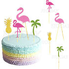 5pc Pink Flamingo Party Decor Hawiian Cupcake Topper Picks F