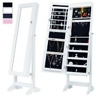 Lockable Mirrored Jewelry Cabinet Armoire Organizer Storage Box w/ Stand LED NEW