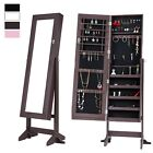 Lockable Mirrored Jewelry Cabinet Armoire Organizer Storage Box Stand Christmas