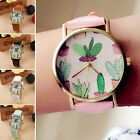 New Women Quartz Watch Analog Cactus Partten Leather Band Casual Wrist Watches