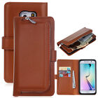 Leather Cover Case purse Samsung Galaxy S6 S7 Removable Zip Card holder Wallet