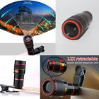 12X Zoom Optical Clip-on HD Telescope Phone Camera Lens For Mobile Phone US Ship