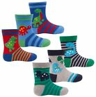 6 prs Boys Baby Toddler Dinosaur Ankle Socks Cotton Rich  Size 0-2.1/2 & 3-5.1/2