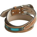 Men's GENUINE Leather Belt Nocana Aztec Brown/Turquoise 44,46  Brown/red 44  New