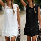 US Summer Women Lady Casual Lace Dress Sleeveless Party Appointment Mini Dress