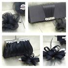 Black Clutch Bag and Fascinator Set Occasion Wedding Prom Ladies Day Races UK