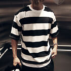 ByTheR Men's Urban Casual Thick Black Striped Loose Fit  Short Sleeve T-Shirt